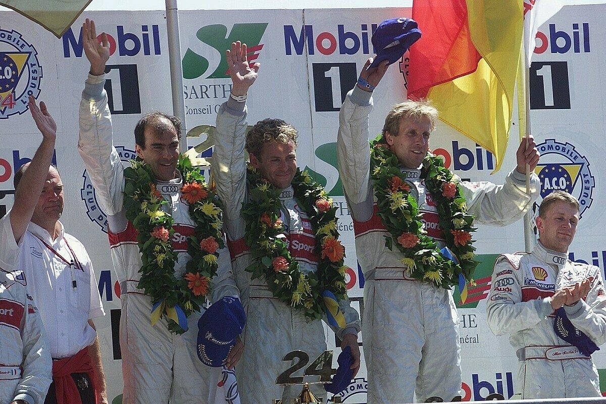 Le Mans 2000: Audi-Gesamtsieger Emanuele Pirro, Tom Kristensen und Frank Biela, Foto: Audi