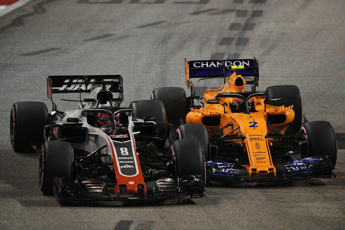 Im Rennen kämpfte Romain Grosjean plötzlich gegen Stoffel Vandoorne, Foto: Sutton