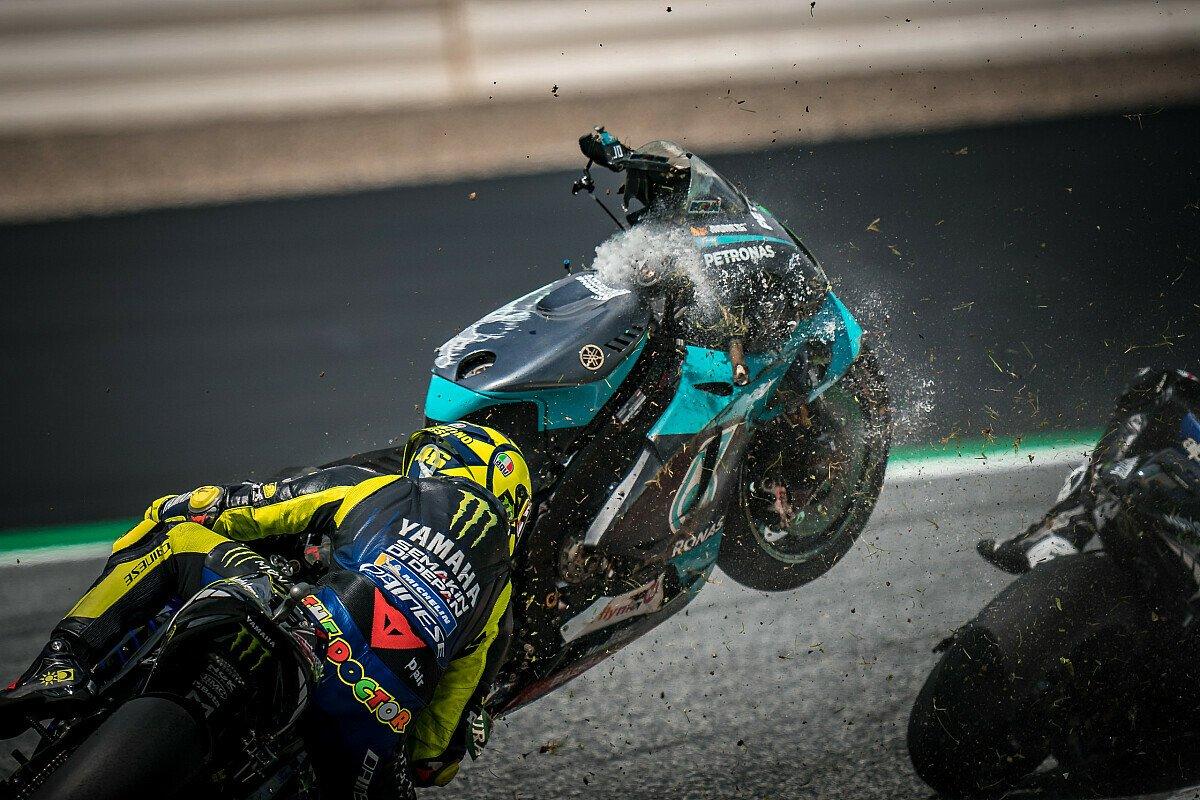Morbidellis Yamaha verfehlte Rossi und Vinales nur um Zentimeter, Foto: LAT Images