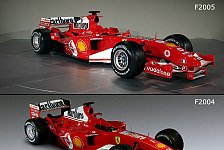 Formel 1 - Bilderserie: Der F2004 & F2005 im Vergleich