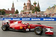 Formel 1 - Showrun in Russland: Video - Fisichella rast durch Moskau