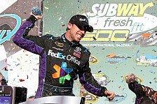 NASCAR - Kevin Harvick schaffte ohne Sprit den zweiten Platz : Denny Hamlin gewinnt mit neuem Crew Chief