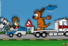 Formel 1 - Mit dem blauen K�nguru auf der A5 im Stau: Comic: Vettels Welt steht 'Down Under' Kopf
