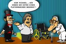 Formel 1 - Vom Grid direkt ins Altersheim?: Comic: Schumacher scheitert am Vorstart