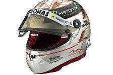 Formel 1 - Wertvoll, selten und widerstandsf�hig: Schumacher: Platin-Helm zum 300. Grand Prix