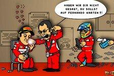Formel 1 - Stallorder stilsicher ignoriert: Comic: Der falsche Ferrari auf dem Podest