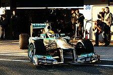 Formel 1 - 2 Tage - 29 Runden - 128 Kilometer: Mercedes beim Test in Jerez: Ausgebremst