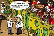 Formel 1 - Sichtschutz aus Geld: Comic: Bernies protestfreier Bahrain GP