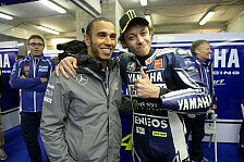 Hamilton testet MotoGP-Bike, Rossi im Formel-1-Mercedes