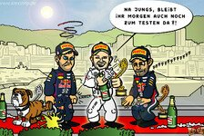 Formel 1 - Roscoes Revanchefoul: Comic: Mercedes pinkelt Red Bull ans Bein