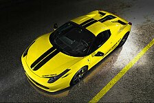 Auto - Transparente Scheibe: 458 Spider mit Blick aufs Triebwerk