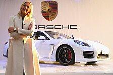 Auto - Spannende Aufgabe: Maria Sharapova pr�sentiert Porsche Panamera