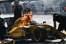Formel 1 - Renault abgefackelt! Boxenfeuer zum Auftakt des Malaysia Grand Prix in Sepang: 1. Training: Magnussens Renault f�ngt Feuer