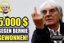 Formel 1 - Video: Wie Bernie Ecclestone 5.000 $ F1-Preisgeld verlor!
