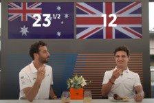Formel 1 - Video: Norris & Ricciardo probieren britische und australische Snacks