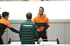 Formel 1 - Video: Um die Wette: Norris und Ricciardo duellieren sich im Ping Pong