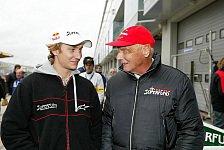 Formel 1 - Niki & Mathias Lauda gemeinsam vor der Kamera