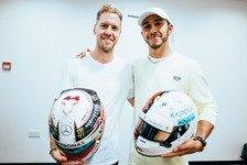 Formel 1, Vettel & Hamilton tauschen Helme: Rivalen mit Respekt