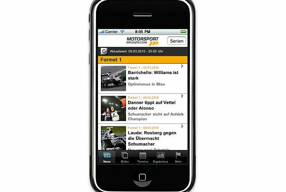 Motorsport-Magazin.com auf dem iPhone.