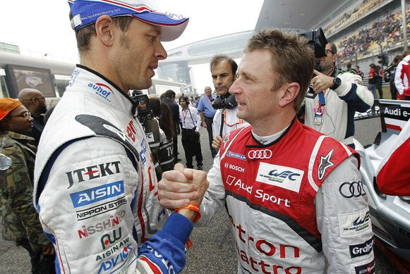 Alex Wurz (links) mit Audi-Kontrahent Allan McNish