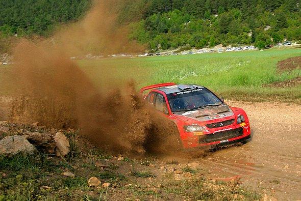 Gigi Galli: Er stellte das Potenzial des Lancer WRC05 unter Beweis. - Foto: Mitsubishi