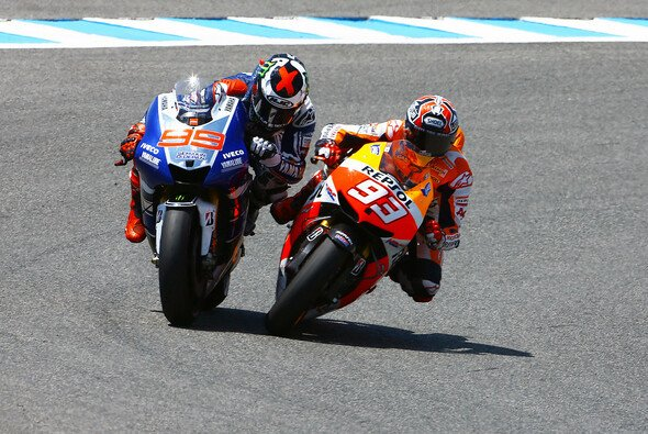 Mit einem grenzwertigen Manöver passierte Marc Marquez kurz vor Ende des Rennens 2013 Jorge Lorenzo - und wurde so Zweiter