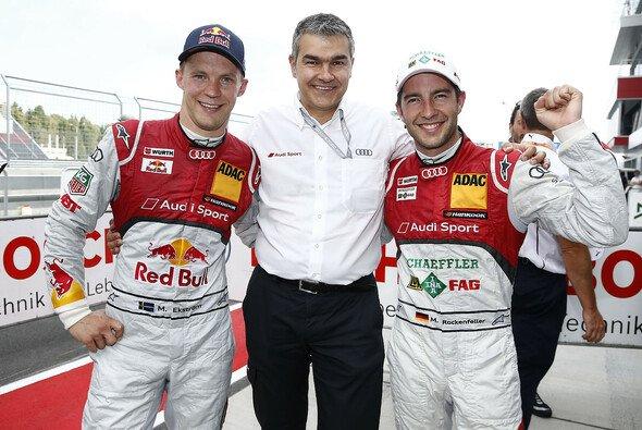 Die Audi-Piloten Rockenfeller und Ekström starten am Sonntag aus der ersten Startreihe - Foto: Audi