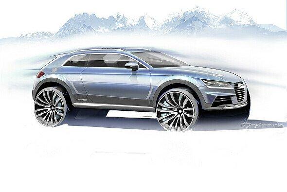 Das neue Audi Showcar steht kraftvoll auf der Straße