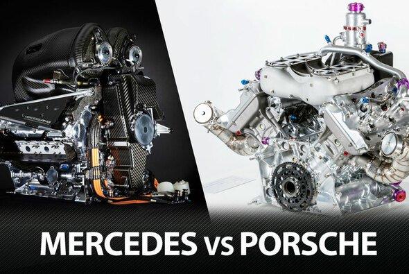 Links: Die Mercedes Power Unit 2015, rechts der Verbrennungsmotor des Porsche 919 Hybrid - Foto: Mercedes/Porsche
