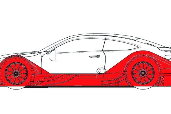 Die rot markierte Designlinie engte Mercedes bei der Entwicklung stark ein - Foto: Mercedes-Benz
