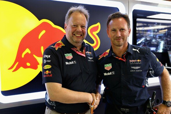 Aston-Martin-Boss Andy Palmer (l.) und Red-Bull-Teamchef Christian Horner - Foto: Red Bull Racing