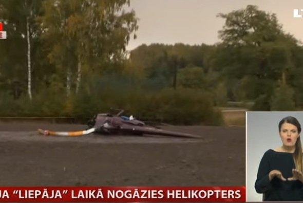 Das lettische Fernsehen zeigte das Wrack des abgestürzten Hubschraubers - Foto: LTV/Youtube