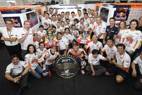 Marc Marquez, Franco Morbidelli und Joan Mir sind die Weltmeister 2017 - Foto: HRC