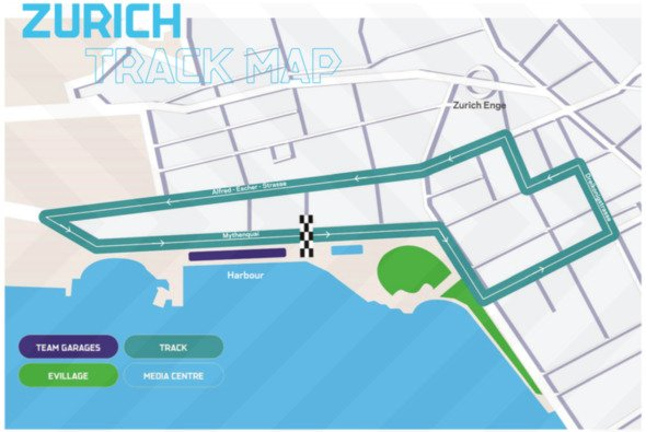 So sieht die Strecke für den Zürich ePrix der Formel E aus - Foto: FIA Formula E