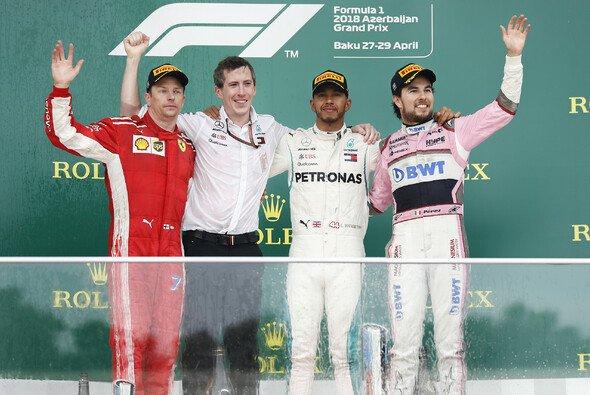 Formel 1 in Baku 2018 - das Podium: Hamilton, Räikkönen, Perez - Foto: LAT Images