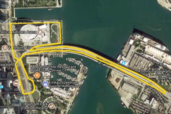 So könnte das Streckenlayout der Formel 1 in Miami aussehen - Foto: Google Maps