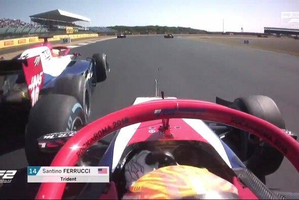 Der Moment, in dem Haas-Nachwuchsfahrer Santino Ferrucci völlig die Kontrolle über sich selbst verliert - Foto: Formula 2