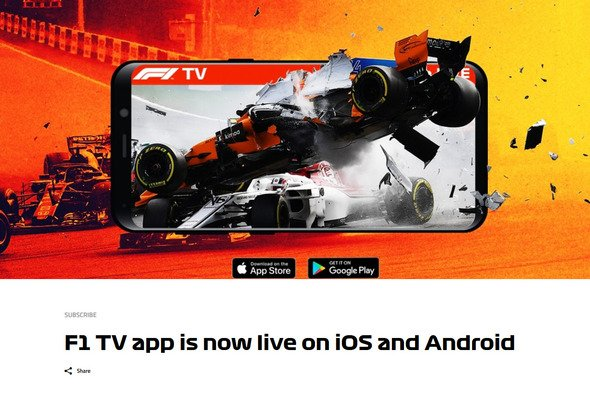 formel 1 live stream f1 tv pro jetzt auch als app gestartet. Black Bedroom Furniture Sets. Home Design Ideas