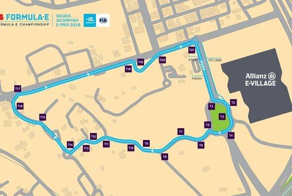 So sieht das Strecken-Layout für das Formel-E-Rennen in Riad aus - Foto: FIA Formula E