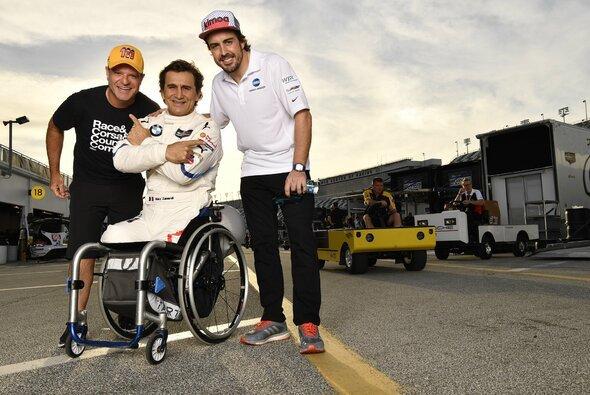 Stars unter sich in Daytona: Rubens Barrichello, Alex Zanardi und Fernando Alonso - Foto: Michelin