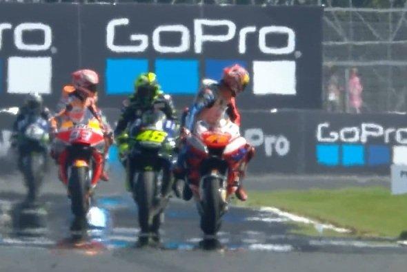 Marquez, Rossi und Miller bummelten in Q2 vor sich hin - Foto: Screenshot/MotoGP