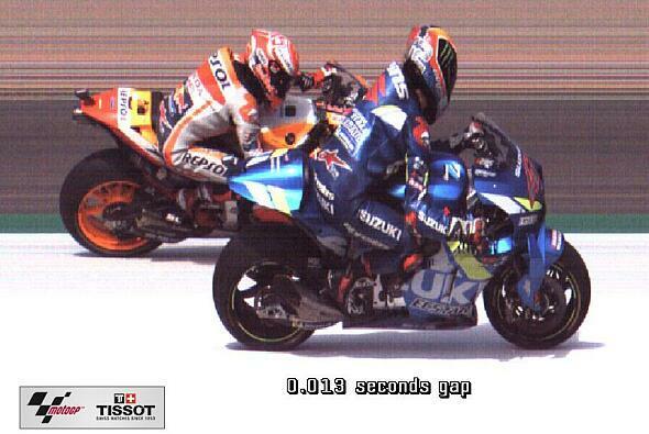 So sehen 13 Tausendstelsekunden im Foto-Finish aus - Foto: motogp.com