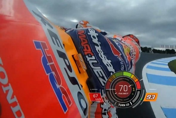 Marc Marquez erreichte bei seinem Save 70 Grad Schräglage - Foto: Screenshot/MotoGP