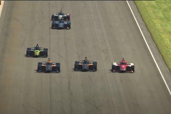 Letzte Runde: Marcus Ericsson, Oliver Askew und Pato O`Ward kämpfen um den Sieg - Foto: Indycar