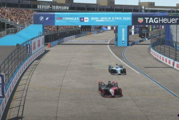 Oliver Rowland hält Stoffel Vandoorne auf und gewinnt den fünften virtuellen ePrix - Foto: Formula E