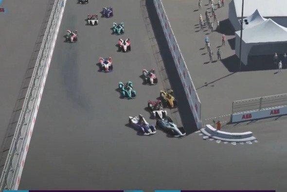 Erste Kurve: Hier ist die Welt noch in Ordnung für Maximilian Günther, doch nur wenige Momente später ist sein Rennen zerstört - Foto: Formule E