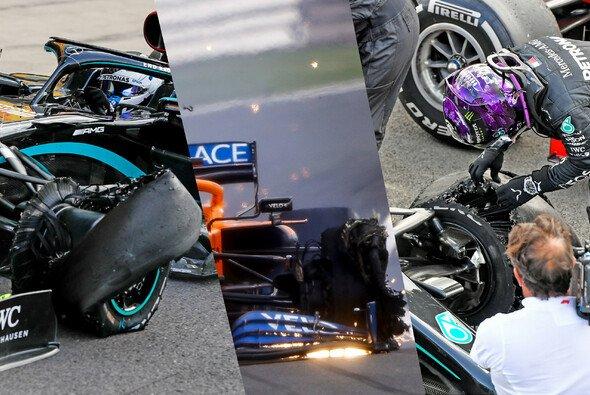 Lewis Hamilton, Valtteri Bottas und Carlos Sainz hatten Reifenschäden zu beklagen - Foto: LAT Images