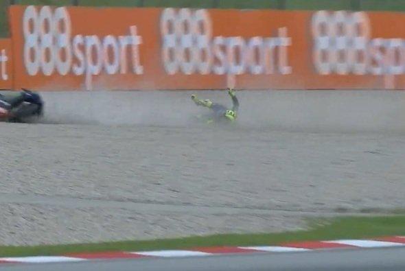Valentino Rossi landete im Kies von Turn 2 - Foto: Screenshot/MotoGP