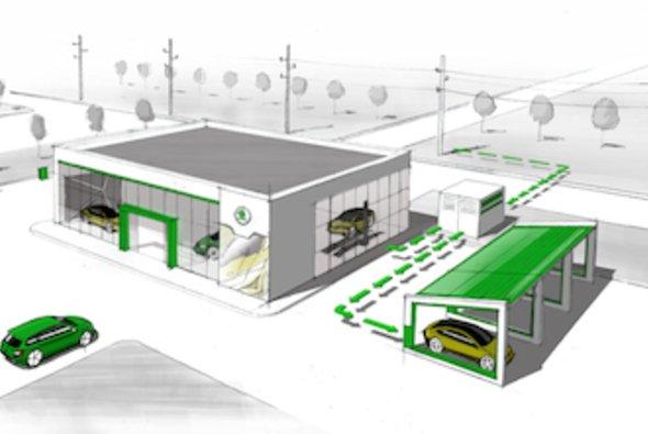 Skoda will alte Akkus von Elektroautos als Stromspeicher bei Fahrzeughändlern einsetzen - Foto: Skoda