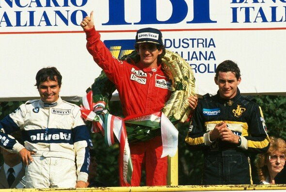 Alain Prost durfte sich über den Sieg beim Italien-GP 1985 noch mit einem Lorbeerkranz freuen. - Foto: LAT Images